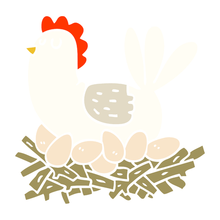 flat color illustration cartoon chicken on nest of eggs