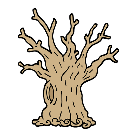 hand drawn doodle style cartoon tree