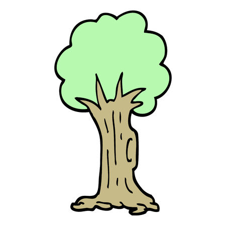hand drawn doodle style cartoon tree