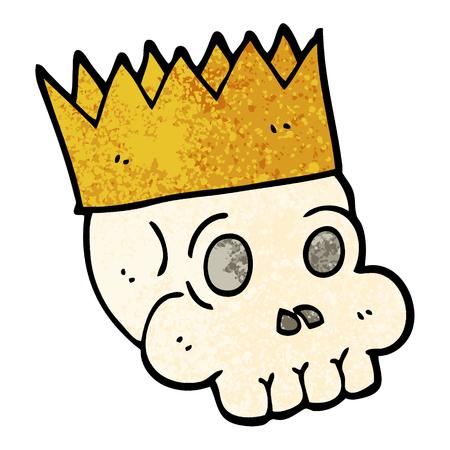 grunge textured illustration cartoon skull wearing crown Illustration