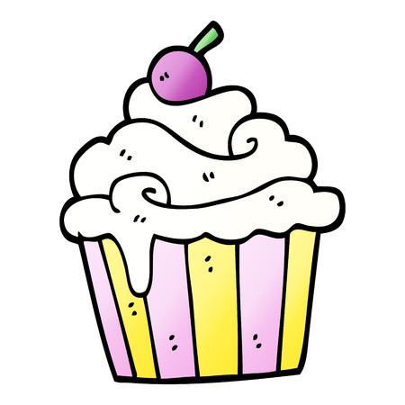 vector gradient illustration cartoon cup cake  イラスト・ベクター素材