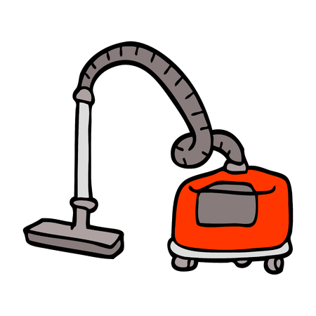 hand drawn doodle style cartoon vacuum hoover 스톡 콘텐츠 - 110423058