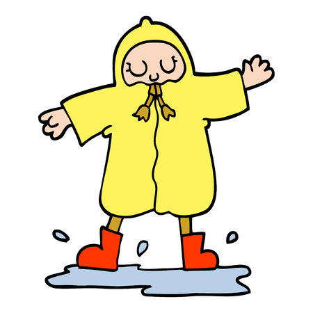 hand drawn doodle style cartoon person splashing in puddle wearing rain coat