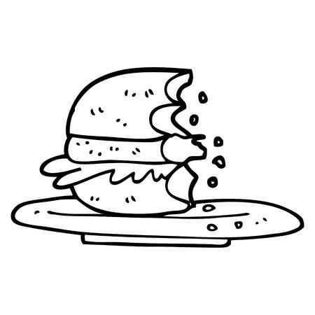 black and white cartoon half eaten burger Illustration