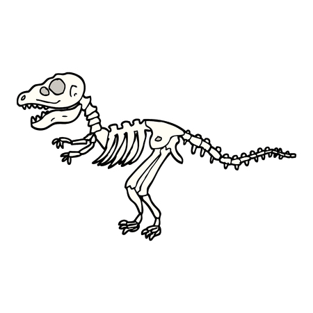 handgetekende doodle stijl cartoon dinosaurus botten