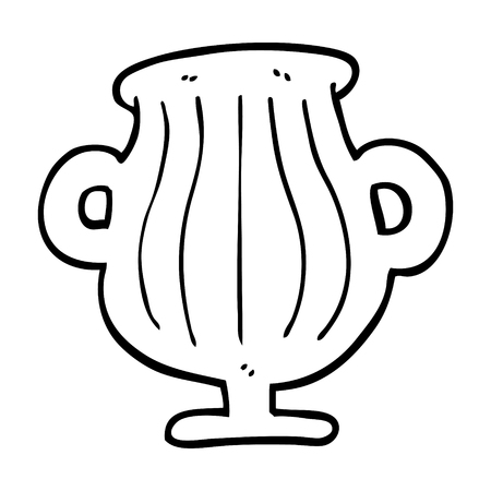 black and white cartoon of a golden vase