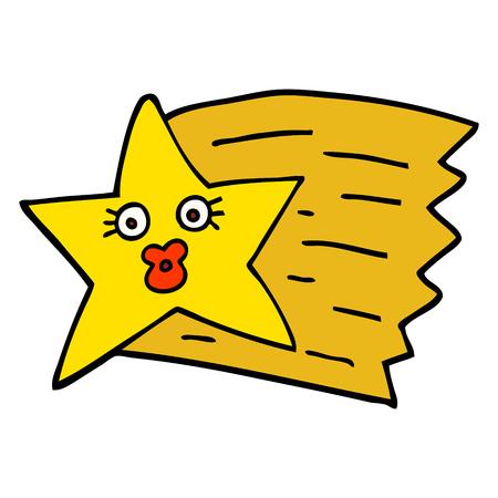 étoile filante de dessin animé de style doodle dessiné à la main