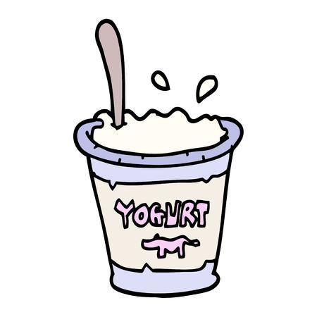 hand drawn doodle style cartoon yogurt
