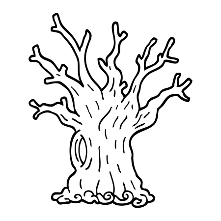 black and white cartoon tree Banque d'images - 110423069