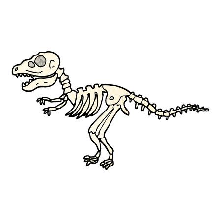 grunge textured illustration cartoon dinosaur bones
