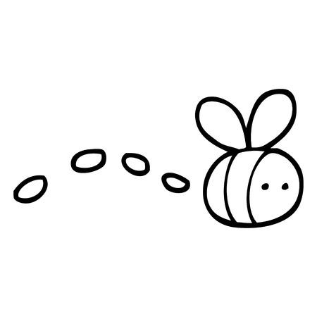 black and white cartoon buzzing bee