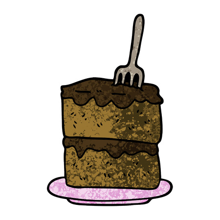 grunge textured illustration cartoon slice of cake Illustration