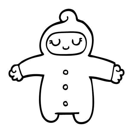 bambino cartone animato in bianco e nero Vettoriali