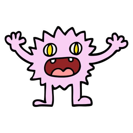 hand drawn doodle style cartoon funny furry monster