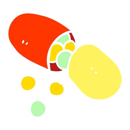 flat color illustration cartoon capsule pill