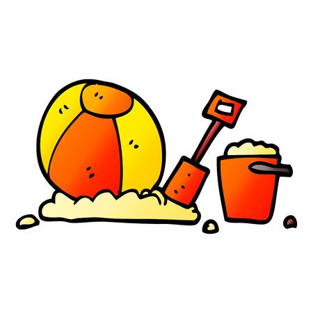 vector gradient illustration cartoon beach objects Stock Illustratie