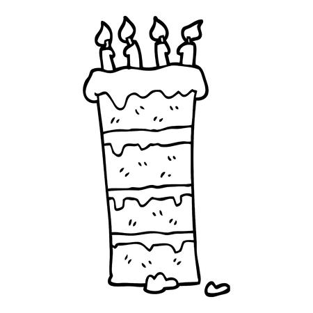 huge black and white cartoon birthday cake Illustration