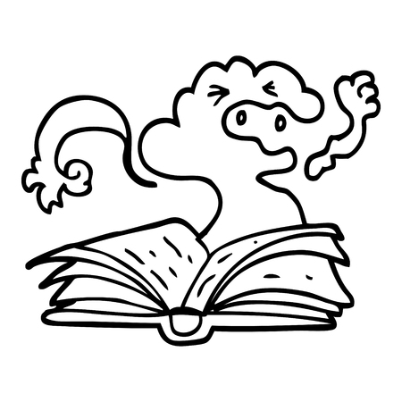 black and white cartoon spell book