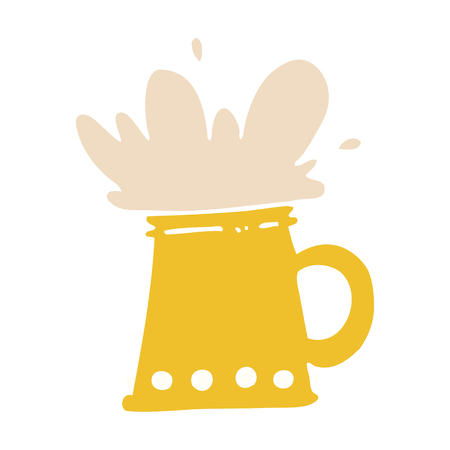 flat color illustration cartoon beer tankard
