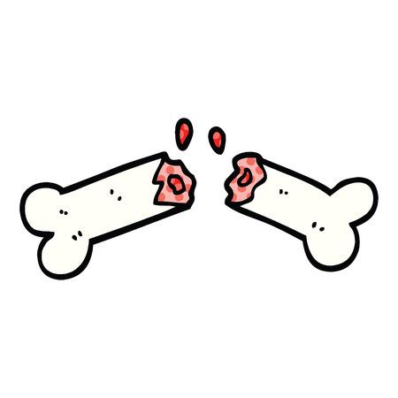 comic book style cartoon broken bone
