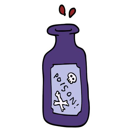 poison de dessin animé de style doodle dessiné à la main