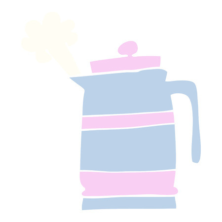 flat color illustration cartoon kettle  イラスト・ベクター素材