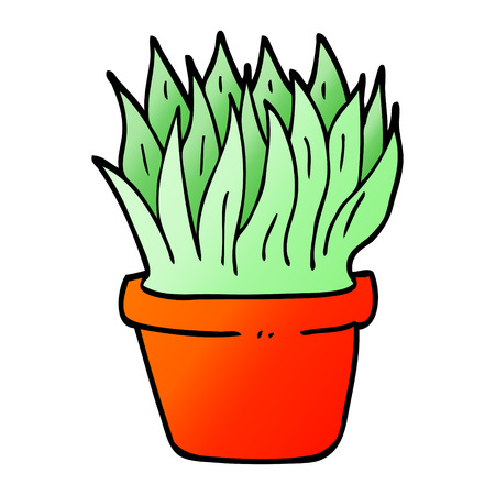 vector gradient illustration cartoon house plant