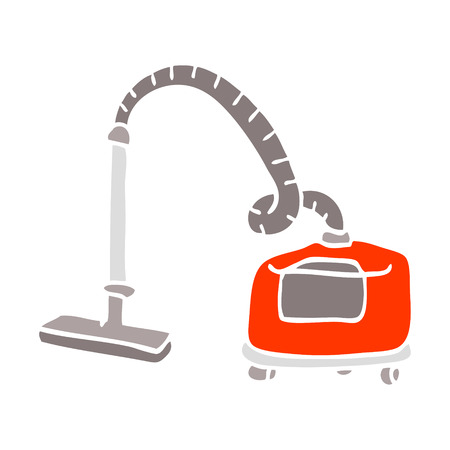 flat color illustration cartoon vacuum hoover Illustration