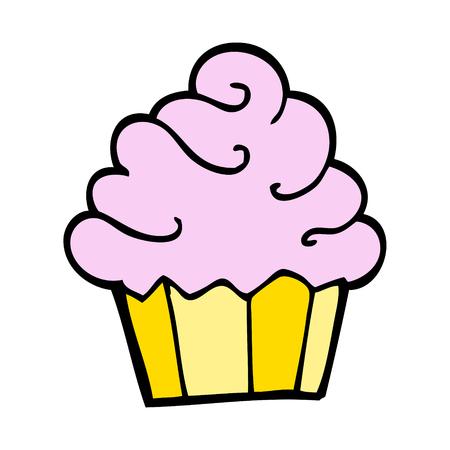 handgezeichneter Doodle-Stil-Cartoon-Cupcake