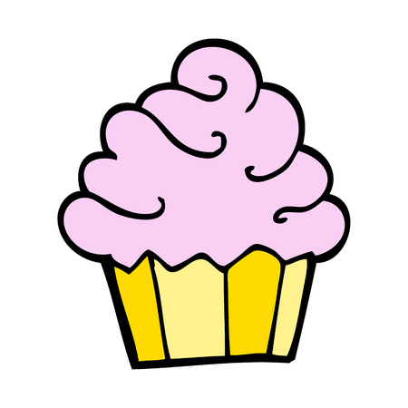 hand drawn doodle style cartoon cupcake