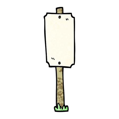 grunge textured illustration cartoon blank sign post
