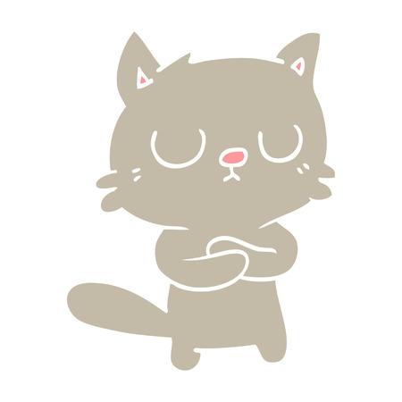 flat color illustration cartoon cat Illustration