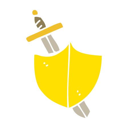 flat color illustration cartoon sword and shield