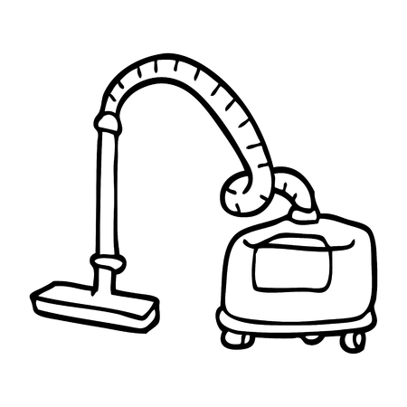 black and white cartoon vacuum hoover
