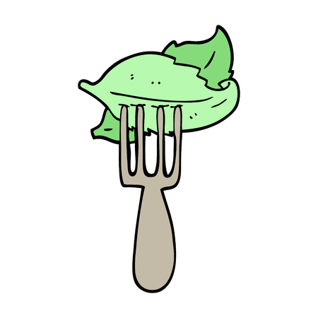 hand drawn doodle style cartoon salad leaves on fork