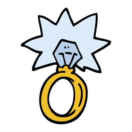 hand drawn doodle style cartoon engagement ring Stock Illustratie