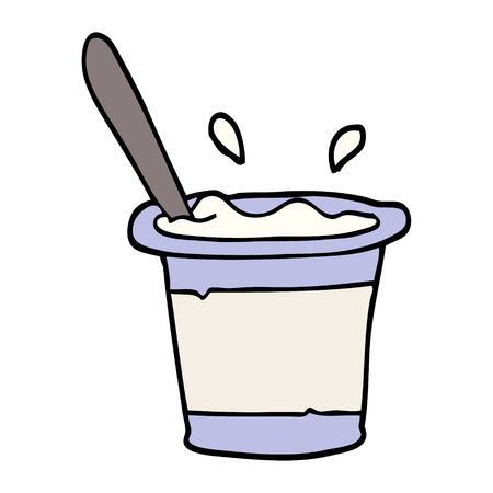 hand drawn doodle style cartoon yogurt