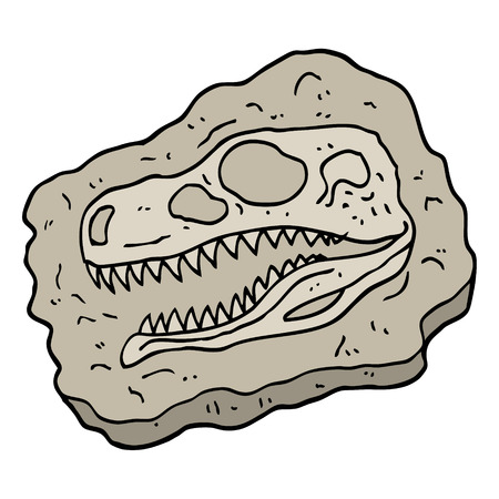 hand drawn doodle style cartoon ancient fossil Illustration