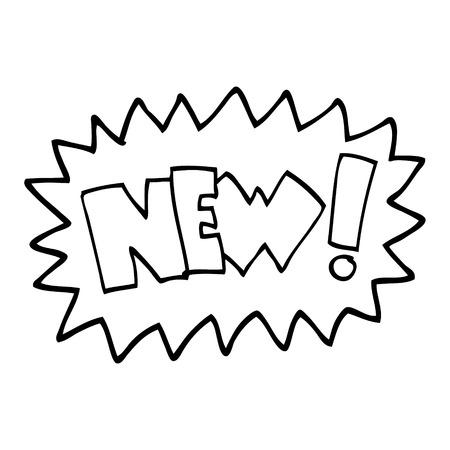 black and white cartoon new symbol Illustration