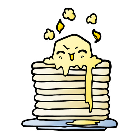 vector gradient illustration cartoon butter melting on pancakes Ilustração