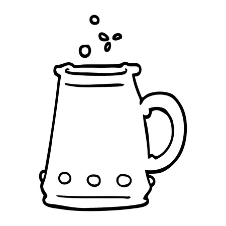 black and white cartoon jem encrusted cup Illustration