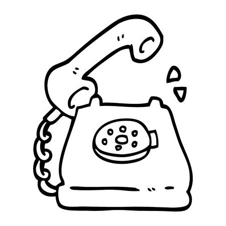 black and white cartoon telephone ringing Illustration