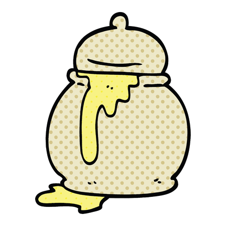 comic book style cartoon honey pot  イラスト・ベクター素材