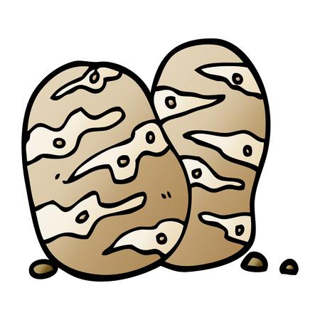 vector gradient illustration cartoon potatoes Ilustração