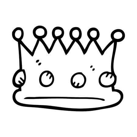 black and white cartoon royal crown