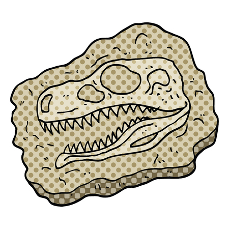 comic book style cartoon ancient fossil