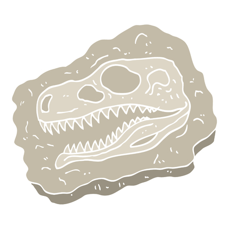 flat color illustration cartoon ancient fossil