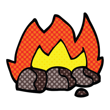 comic book style cartoon burning coals Stock Illustratie