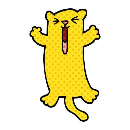comic book style cartoon happy cat Illustration