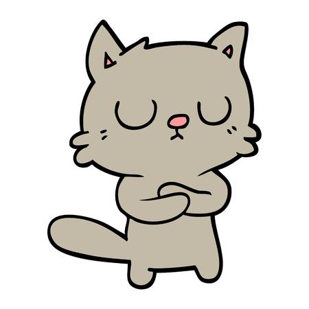 hand drawn doodle style cartoon cat